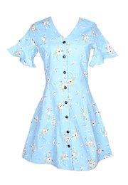 Floral Print Button Down Dress BLUE (Ladies' Dress)