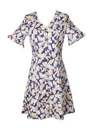 Floral Print Button Down Dress NAVY/GOLD (Ladies' Dress)