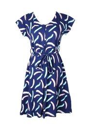 Pastel Paint Brush Print Nursing Flare Dress NAVY (Ladies' Dress)