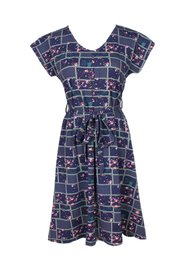 Checkered Floral Design Flare Dress NAVY (Ladies' Dress)
