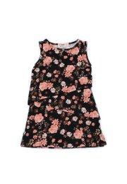 Floral Print Tiered Layered Dress BLACK (Girl's Dress)