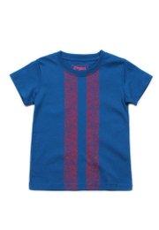 Floral Printed Twin Stripe T-Shirt BLUE  (Boy's T-Shirt)