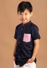 Seashell Print Pocket Mandarin Collar Short Sleeve Shirt NAVY (Boy's Shirt)