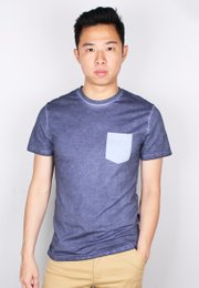 Faded Look Pocket T-Shirt NAVY (Men's T-Shirt)