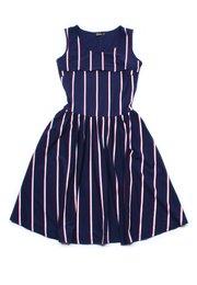 Shadow Stripes Nursing Skater Dress NAVY (Ladies' Dress)