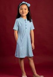 Seashell Print Half-Button Down Dress BLUE (Girl's Dress)