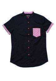 Seashell Print Pocket Mandarin Collar Short Sleeve Shirt NAVY (Men's Shirt)
