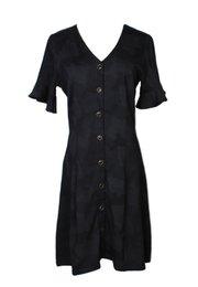 Black Camo Print Button Dress BLACK (Ladies' Dress)