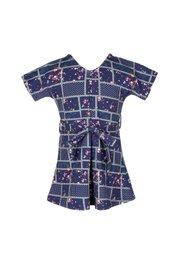 Checkered Floral Design Flare Dress NAVY (Girl's Dress)