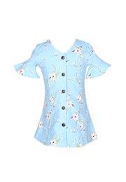 Floral Print Button Down Dress BLUE (Girl's Dress)