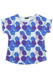 Neon Peony Print Blouse CYAN (Ladies' Top)