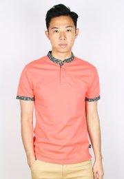 Floral Motif Mandarin Collar Polo T-Shirt PINK (Men's Polo)
