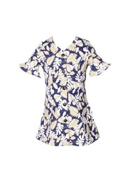 Floral Print Button Down Dress NAVY/GOLD (Girl's Dress)