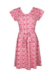 Japanese Wave Print Nursing Flare Dress PINK (Ladies' Dress)