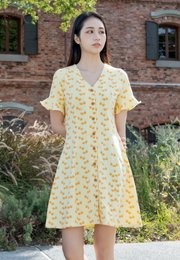 Mandarin Orange Print Button Dress YELLOW (Ladies' Dress)