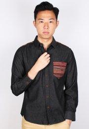 Aztec Embroidered Yoke Long Sleeve Shirt BLACK (Men's Shirt)