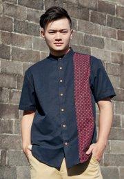 Oriental Rings Print Mandarin Collar Short Sleeve Shirt NAVY (Men's Shirt)
