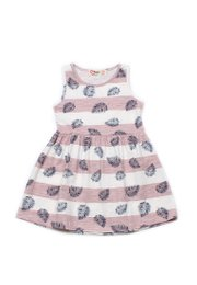 Striped Botanical Print Dress PINK (Girl's Dress)