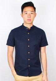 Brushed Cotton Classic Mandarin Collar Short Sleeve Shirt NAVY (Men's Shirt)