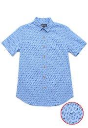 Rose Print Motif Short Sleeve Shirt BLUE (Men's Shirt)