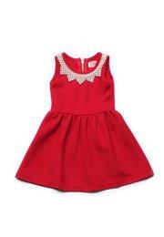 Faux Pearl Neckline Dress RED (Girl's Dress)