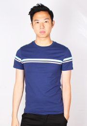 Pastel Twin Stripe T-Shirt NAVY (Men's T-Shirt)