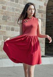 Oriental Rings Print Cheongsam Inspired Dress RED (Ladies' Dress)
