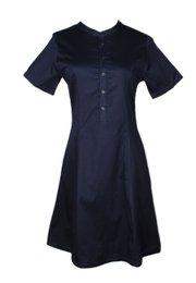 Brushed Cotton Half-Button Down Dress NAVY (Ladies' Dress)
