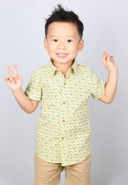 Rose Print Motif Short Sleeve Shirt YELLOW (Boy's Shirt)