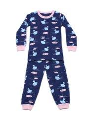 Swan Print Pyjamas Set NAVY (Kids' Pyjamas)