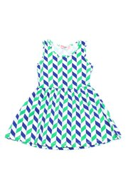 Geometric Chevron Print Dress GREEN (Girl's Dress)