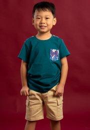 Neon Botanical Print T-Shirt TURQUOISE (Boy's T-Shirt)