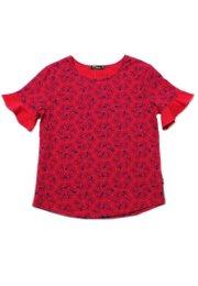 Floral Patterned Print Blouse RED (Ladies' Top)