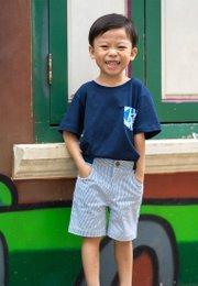 Geometric Triangles Print T-Shirt NAVY (Boy's T-Shirt)