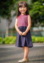 Oriental Rings Print Cheongsam Inspired Dress NAVY (Girl's Dress)