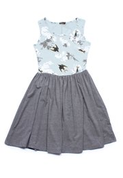 Birds and Embossed Floral Print Skater Dress GREEN (Ladies' Dress)