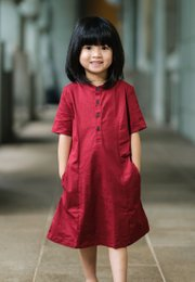 Brushed Cotton Half-Button Down Dress RED (Girl's Dress)