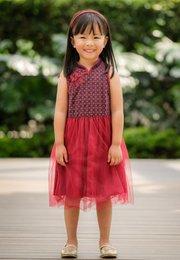 Oriental Rings Print Cheongsam Inspired Bubble Dress NAVY (Girl's Dress)