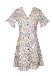 Floral Print Button Down Dress GREY (Ladies' Dress)