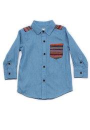 Aztec Embroidered Yoke Long Sleeve Shirt BLUE (Boy's Shirt)