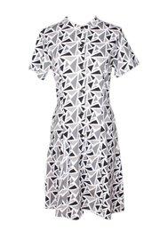 Geometric Triangles Print Button Down Dress GREY (Ladies' Dress)