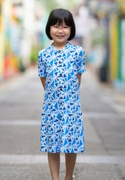 Geometric Triangles Print Button Down Dress BLUE (Girl's Dress)