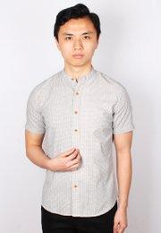 Oriental Motif Print Mandarin Collar Short Sleeve Shirt CREAM (Men's Shirt)