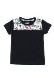 Floral Print Panel T-Shirt BLACK (Boy's T-Shirt)