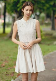 Oriental Cheongsam Inspired Lace Dress CREAM (Ladies' Dress)