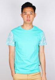 Japanese Wave Print T-Shirt CYAN (Men's T-Shirt)