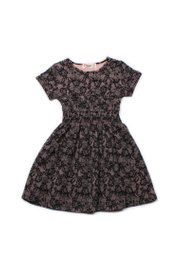 Floral Mesh Print Skater Dress BLACK (Girl's Dress)