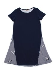 Crane Print Shift Dress NAVY (Ladies' Dress)