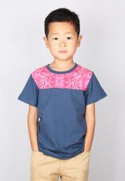 Floral Print Panel T-Shirt BLUE (Boy's T-Shirt)