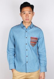 Aztec Embroidered Yoke Long Sleeve Shirt BLUE (Men's Shirt)